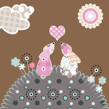 cute valentine illustration of two rabbits in love