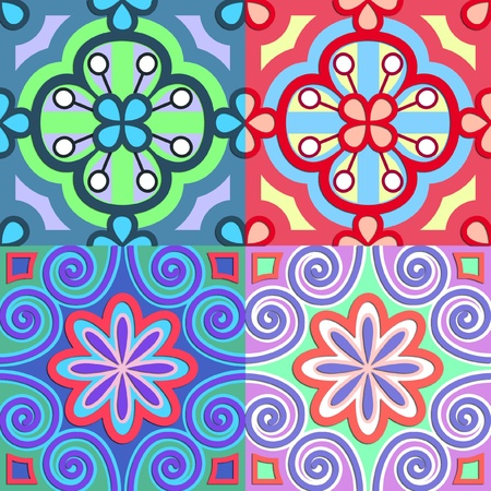 4 bright flower patterns seamless