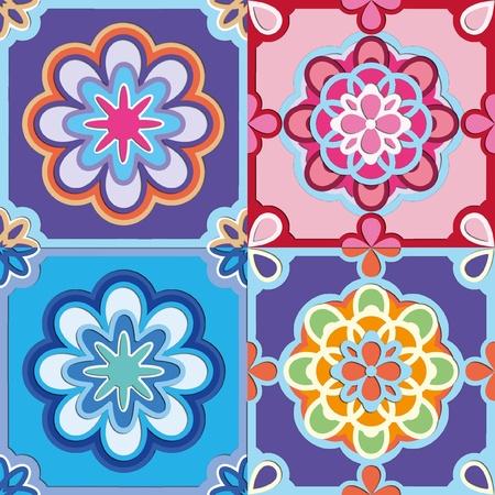 4 bright flower patterns seamless