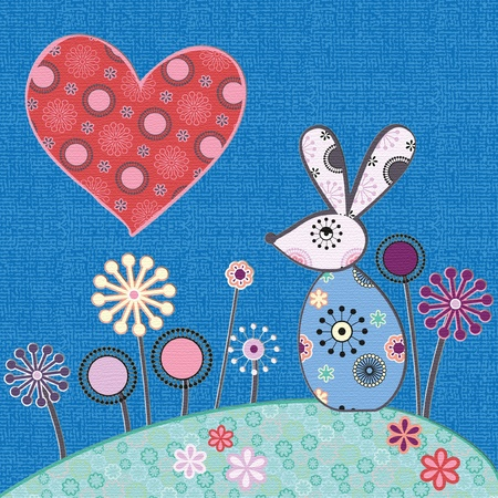 cute illustration of rabbit and heart Stock Vector - 12497163