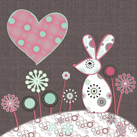 cute illustration of rabbit and heart