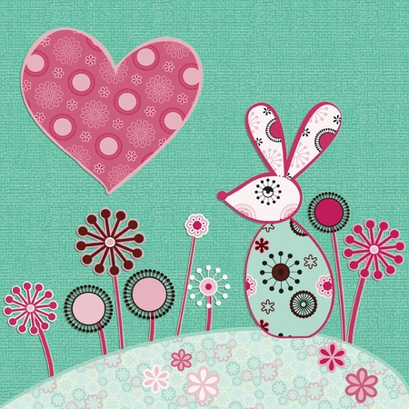 cute illustration of rabbit and heart Stock Vector - 12497162