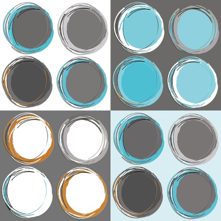 seamless retro pattern circles 4 color combinations