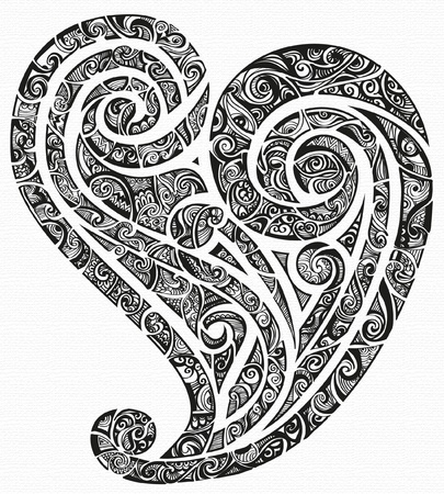 Decorated tattoo heart