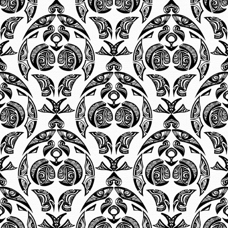 textiles: seamless pattern tattoo style in black and white for design projects Illustration