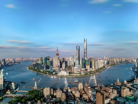 Aerial photography of Shanghai city scenery