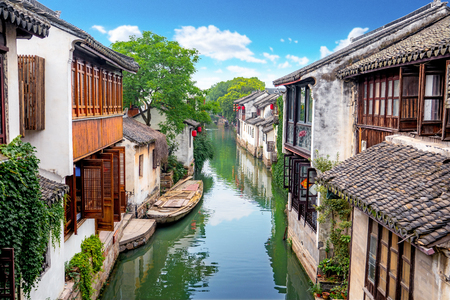 Zhouzhuang ancient town scenery 스톡 콘텐츠