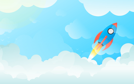 overcome: Flying Space Rocket Launching in Sky Over Clouds - Illustration of Technological Progress and Project Startup in Flat Vector and Balanced Red, Green and Blue