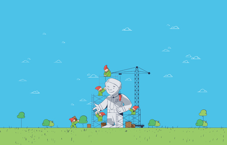 Under Construction and Startup Project Development Concept with Teamwork - Collaborating Gnomes Building Statue of Business Man or Manager in Flat Vector on Light Blue Minimalist Background Illustration