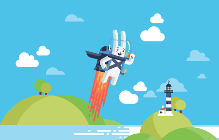 Progress, Achievement and Startup Development Project Concept with Flying Rocket Jetpack Rabbit Launching in Sky over Ocean Beach Front in Material Vector and Bright White and Blue