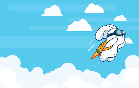 Progress, Achievement and Startup Development Project Concept with Flying Jetpack Rocket Rabbit Launching in Sky over Clouds in Flat Vector and Bright Contrasting White and Blue
