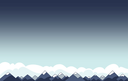 Background with Copyspace of Mountain Landscape and Clouds in Flat Vector, Contrasting Blue with Gradient.