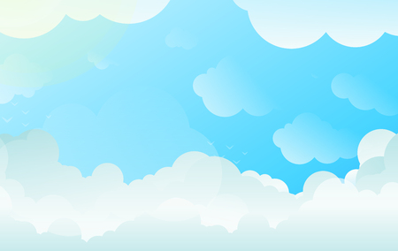 Background with Copyspace of Clouds in Balanced Gradient Vector and Bright Contrasting White and Blue.