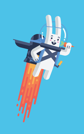 Flying Rocket Jetpack Rabbit Launching in Sky Isolated in Material Design Vector and Bright Contrasting White and Blue.