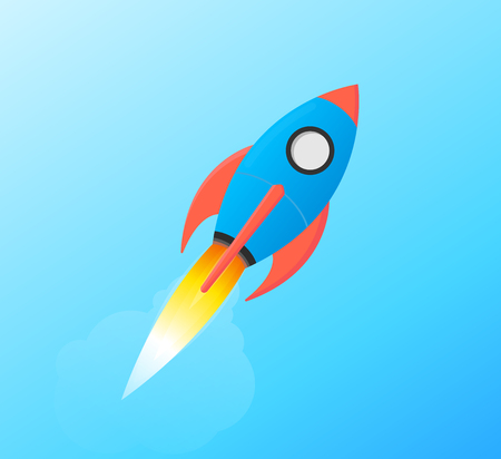 Flying Space Rocket Shuttle Launching in Sky Styled in Flat Vector and Bright Balanced Red and Blue Isolated on Gradient Background.