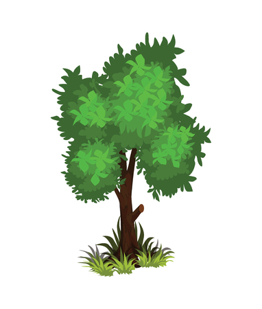 Isometric Cartoon Bushy Green Tree - Element for Tileset Map, Landscape Design or Game Object Illustration