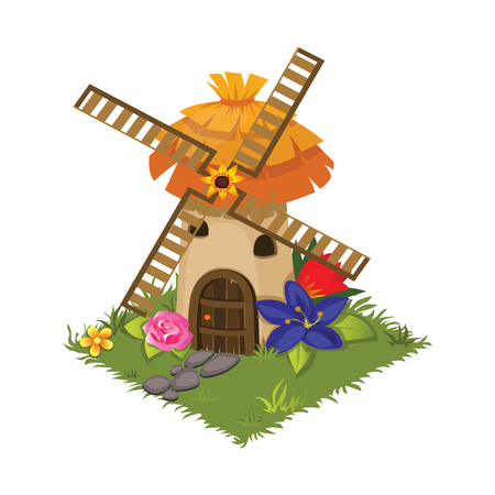 Isometric Cartoon Village Grinder Mill Decorated with Flowers - Elements for Tileset Map, Landscape Design or Game Object in Colorful Detailed Vector Illustration