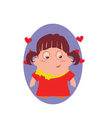 Blushing and Smiling, Funny Avatar of Little Beauty Cartoon Character in Flat Vector