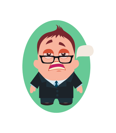 Serious and Pragmatic Business Man, Funny Avatar of Little Person Cartoon Character in Flat Vector Çizim
