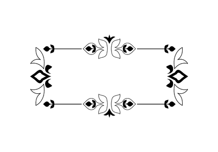 Vintage kalligrafische vierkante Frame - decoratieve Floral Element met lijnen, bloeit, schuift en wervelingen geïsoleerd in zwarte Vector