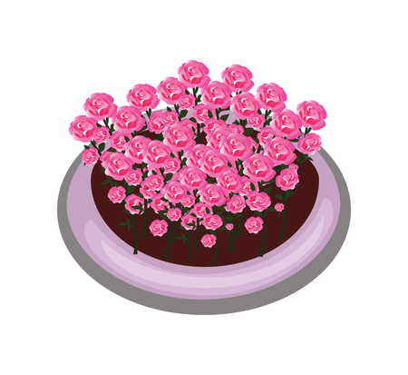 Isometric Cartoon Flower Bush Bed With Red Roses Illustration