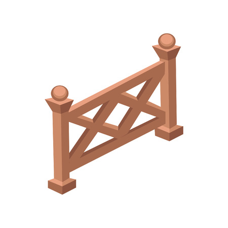 Isometric Cartoon Wooden Fence or Gate  - Element for Tileset Map, Landscape Design or Game Object in Colorful Detailed Vector Illustration
