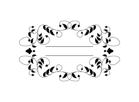 black borders: Vintage Calligraphic Square Frame - Decorative Floral Element with Lines, Flourishes, Scrolls and Swirls Isolated in Black Vector Illustration