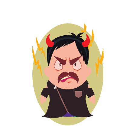 Villain Devil Frowning Avatar of Little Person Cartoon Character in Flat Vector - Use as Emoji or Mascot, Male Illustration Isolated on White Background Illustration