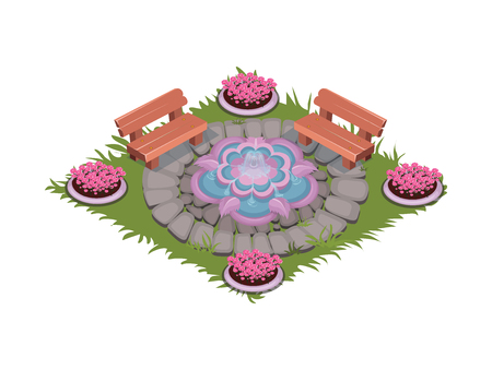 Isometric Cartoon Paved Square Patio with Fountain, Benches and Flowerbeds Illustration