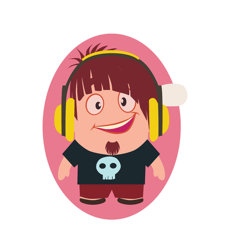 Cute, Cool and Funny Smiling Geek Avatar of Little Person with Headphones Cartoon Character in Flat Vector