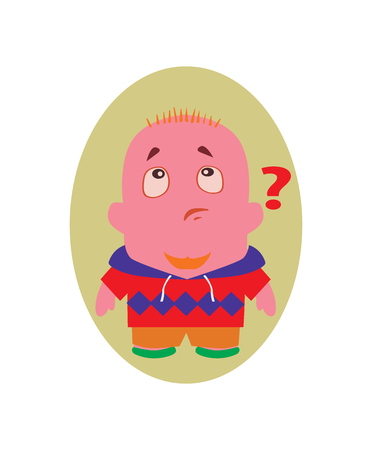 questioning: Surprised and Speechless, Funny Avatar of Little Person Cartoon Character in Flat Vector Illustration