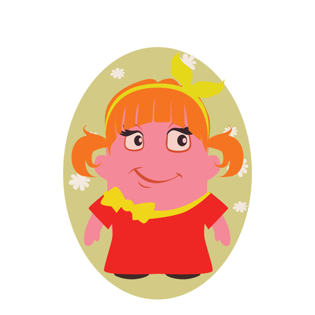Smiling and Happy, Smirking Beauty Avatar of Little Person Cartoon Character in Flat Vector