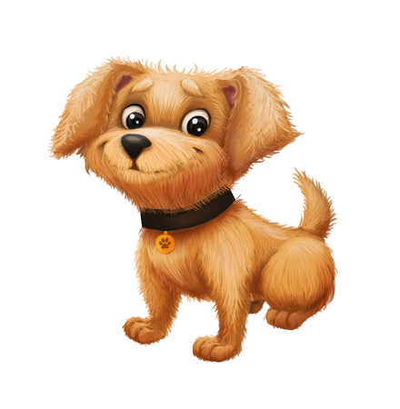 Cute Happy Little Furry Puppy Smiling - Cartoon Animal Character Sitting and Wagging the Tail - for Illustration, Greeting or Post Card, Banner, Gift Card, Poster or Booklet Stock Photo