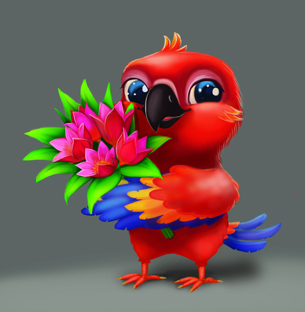 Cute Parakeet Parrot Holding Flowers as Present for Loved One - Happy Blue-Eyed Hand-Drawn Cartoon Animal Character for Greeting or Post Card, Banner, Gift Card, Poster or Booklet