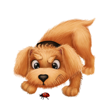 chasing tail: Cute Little Furry Puppy - Cartoon Animal Character Chasing and Playing with Ladybug - for Illustration, Greeting or Post Card, Banner, Gift Card, Poster or Booklet