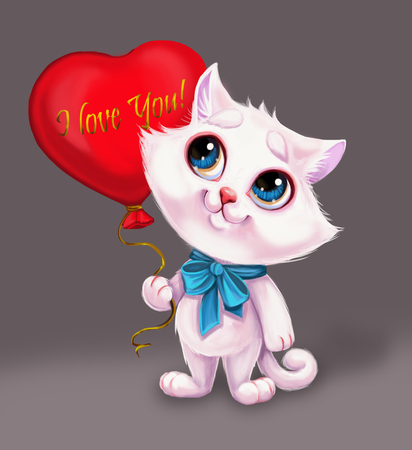 Cute Smiling White Kitten Holding Heart Balloon with I Love You Sign of Feelings - Blue-Eyed Hand-Drawn Cartoon Animal Character for Greeting or Post Card, Banner, Gift Card, Poster or Booklet