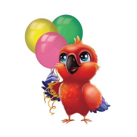 Cute Parakeet Parrot Holding Party Balloons - Kids Happy Birthday from Happy Blue-Eyed Hand-Drawn Animated Cartoon Character for Greeting or Post Card, Banner, Gift Card, Poster or Booklet