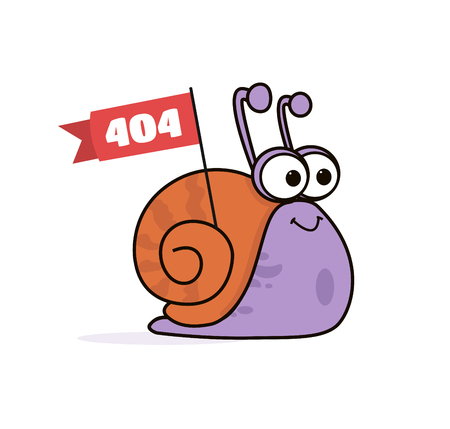 Animated Cartoon Funny Smiling Lazy Snail Character Carrying Flag Poster with Logo Copyspace.