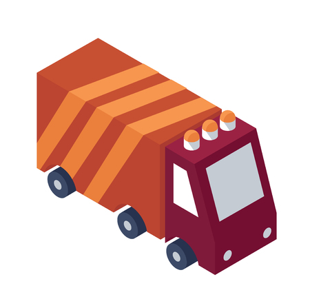 Isometric Service Truck Object or Icon.