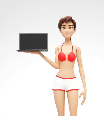 Laptop Mockup With Blank Screen Held by Smiling and Happy Jenny - 3D Cartoon Female Character in Swimsuit Bikini as Presentation of Information or Advertisement, Isolated on White Background