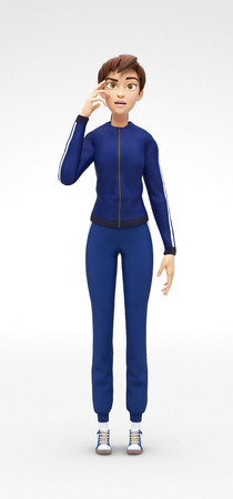 manner: Lost and Concerned Psychic Jenny - 3D Cartoon Female Character Sports Model - Challenged by Problem, Appears Serious In Thought-Provoking Manner, in Gym Suit, Isolated on White Spotlight Background