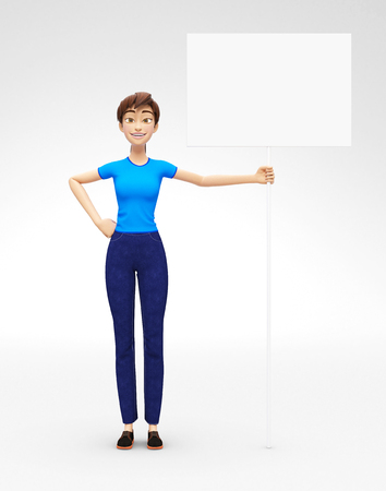 Blank Announcement Flag and Banner Mockup Held by Smiling and Happy Jenny - 3D Cartoon Female Character in Casual Clothes as Presentation of Information or Advertisement, Isolated on White Background Reklamní fotografie