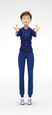 begging: Vulnerable, Sad and Helpless Jenny - 3D Cartoon Female Character Sports Model - Extends her Hands Begging For Help with Arms Reaching Out, in Athletic Gym Suit, Isolated on White Spotlight Background