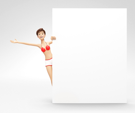 Blank Product Billboard and Banner Mockup Announced by Smiling and Happy Jenny - 3D Cartoon Female Character in Swimsuit Bikini as Presentation of Information or Advertisement, Isolated on White