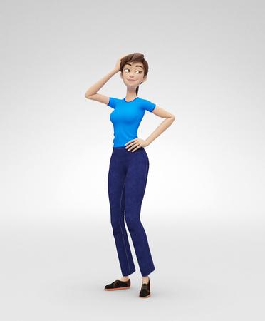 Flirten, glimlachen, dromerig en zelfverzekerd Jenny - 3D vrouwelijke personagekaraktermodel - fixeert haar en kijkt weg, in vrijetijdskleding, geïsoleerd op witte spotlightachtergrond Stockfoto