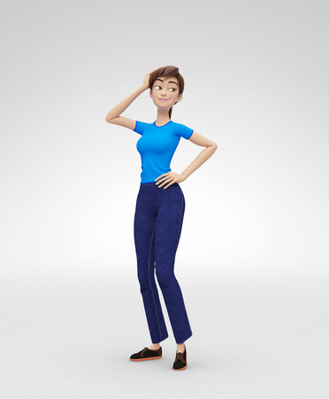 Flirting, Smiling, Dreamy and Self-Assured Jenny - 3D Cartoon Female Character Model - Fixes Hair and Looks Away, in Casual Clothes, Isolated on White Spotlight Background Banco de Imagens