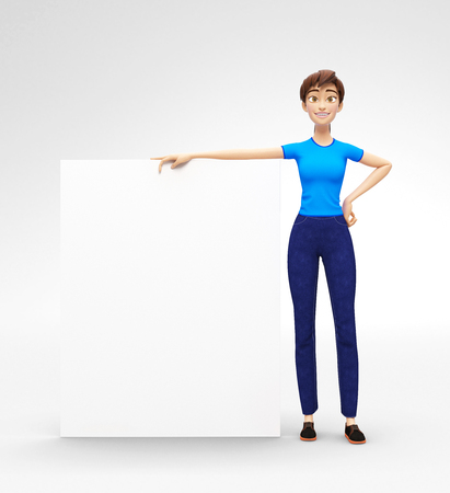 and delighted: Blank Product Billboard and Banner Mockup Held by Smiling and Happy Jenny - 3D Cartoon Female Character in Casual Clothes as Presentation of Information or Advertisement, Isolated on White Background