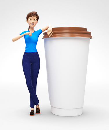 Blank Coffee or Tea Cup Mockup Held by Smiling and Happy Jenny - 3D Cartoon Female Character in Casual Clothes as Presentation of Information or Advertisement, Isolated on White Background Stock Photo