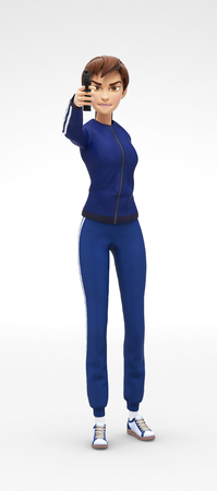 Angry and Aggressive Bad Jenny - 3D Cartoon Female Character Sports Model - Armed and Dangerous Criminal Threatening with Gun, in Athletic Gym Sweat Suit, Isolated on White Spotlight Background Stock Photo