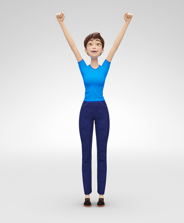 Smiling, Successful Jenny - 3D Cartoon Female Character Model Portrays Winner Concept, in Casual Clothes, Isolated  on White Spotlight Background